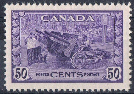 Canada #261 (SG#387) 50c Deep Dull Violet Munitions 1942-46 War Issue - VF-80 LH Brixton Chrome