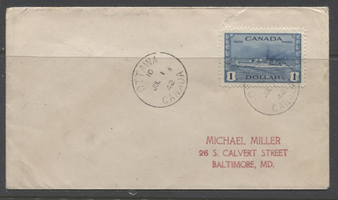 Canada #262 $1 Steel Blue Hossack Destroyer, 1942-1949 War Issue, A Fine Ottawa First Day Cover Brixton Chrome