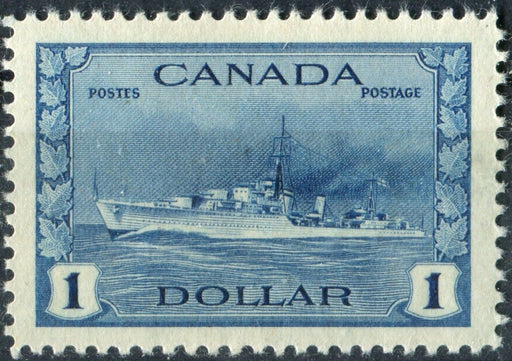 Canada #262 (SG#388) $1 Deep Blue Destroyer 1942-46 War Issue Soft Vertical Wove Paper VF-84 LH Brixton Chrome