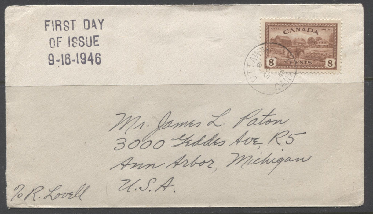 Canada #268 8c Red Brown Farm Scene, 1946-1952 Peace Issue, First Day Cover to Ann Arbour, Michigan Brixton Chrome