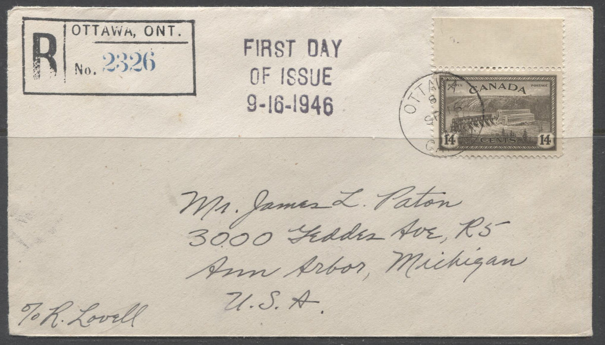 Canada #270 14c Black Brown, Hydroelectric Station, 1946-1952 Peace Issue, First Day Cover to Ann Arbour, Michigan Brixton Chrome