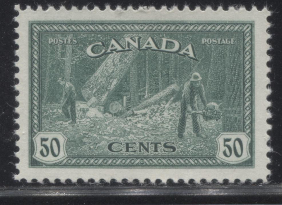 Canada #272 50c Bluish Green Logging, 1946-1951 Peace Issue, A Very Fine Mint NH Example Brixton Chrome
