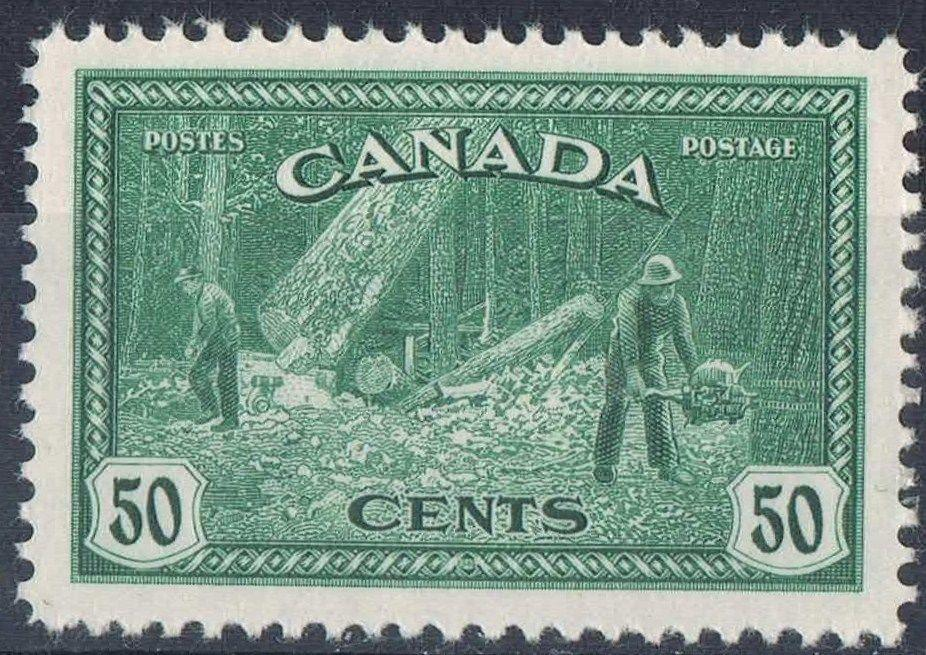 Canada #272 (SG#405) 50c Deep Green Logging 1946-50 Peace Issue - VF-84 NH Brixton Chrome
