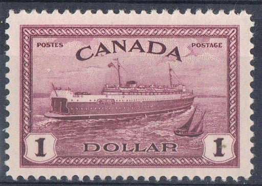 Canada #273 (SG#406) $1 Deep Red Violet Train Ferry 1946-51 Peace Issue - VF-80 LH Brixton Chrome