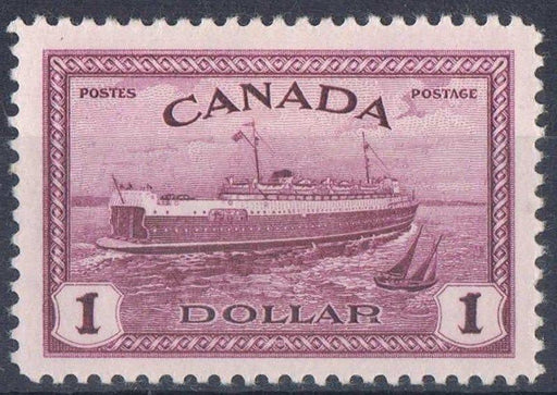 Canada #273 (SG#406) $1 Pale Red Violet Train Ferry 1946-51 Peace Issue - VF-80 LH Brixton Chrome