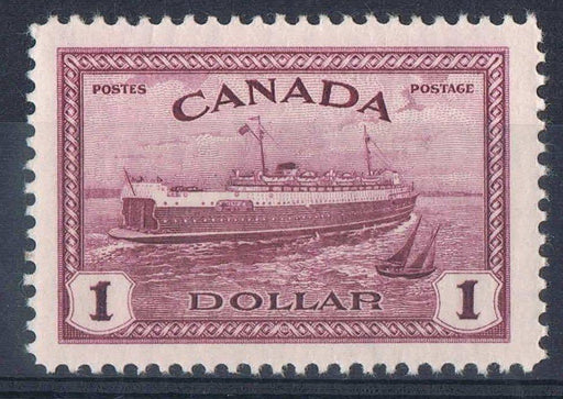 Canada #273 (SG#406) $1 Red Violet Train Ferry 1946-51 Peace Issue - VF-80 NH Brixton Chrome