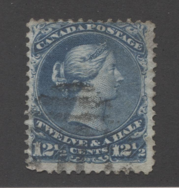 Canada #28 12.5c Deep Blue Queen Victoria, 1868-1897 Large Queen Issue, Very Good Used Single on Duckworth Paper 3, Perf. 12 Brixton Chrome