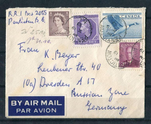 Canada #286/330 (SG#416/461) 1953 Karsh Issue 15c Airmail Cover to East Germany XF-85 Brixton Chrome