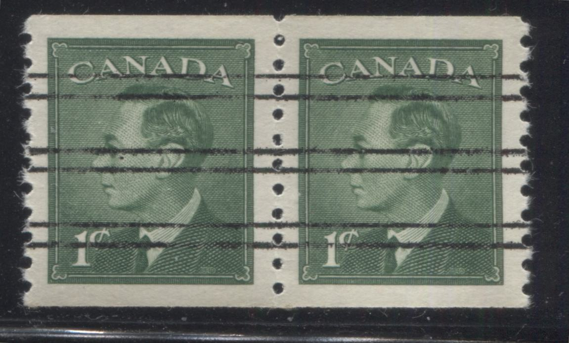 Canada #295xx 1c Green King George VI, 1949-1952 Postes Postage Unrevised Issue, A Very Fine Mint NH Precancelled Pair of the Coil Stamp Brixton Chrome