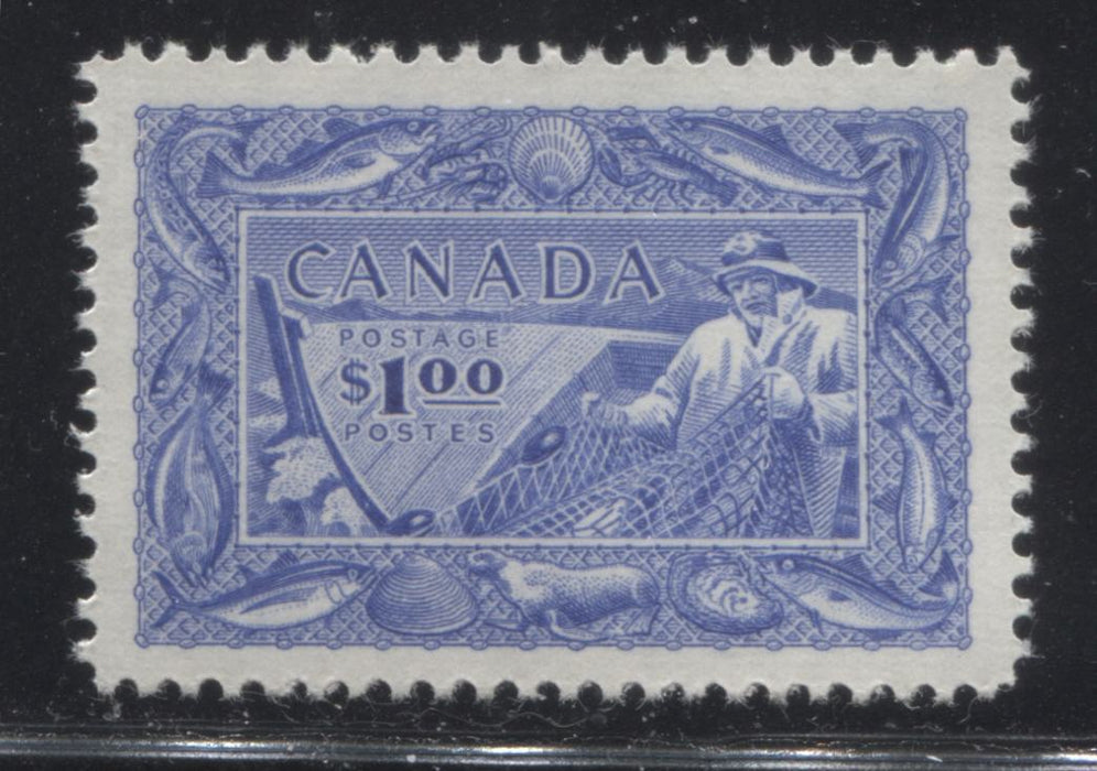Canada #302 $1 Ultramarine Fisherman, 1950-1952 Natural Resources Issue, A Very Fine Mint NH Example Brixton Chrome