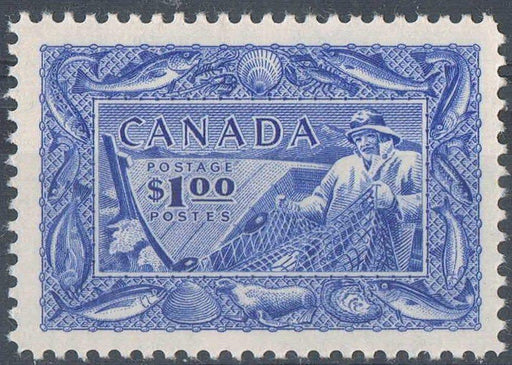 Canada #302 (SG#433) $1 Ultramarine Fisheries 1950-1953 Natural Resources Issue Crisp Wove Paper With No Mesh VF-80 NH Brixton Chrome