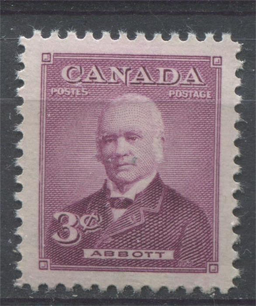 Canada #318 (SG#444) 3c Rose Lilac Sir John Abbott 1952 Prime Ministers Issue VF 75/80 NH Brixton Chrome