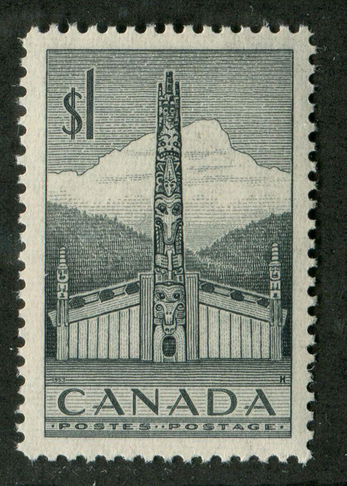 Canada #321 (SG#446) $1 Slate Totem Pole 1953 Karsh Issue Ribbed Paper  VF-80 NH