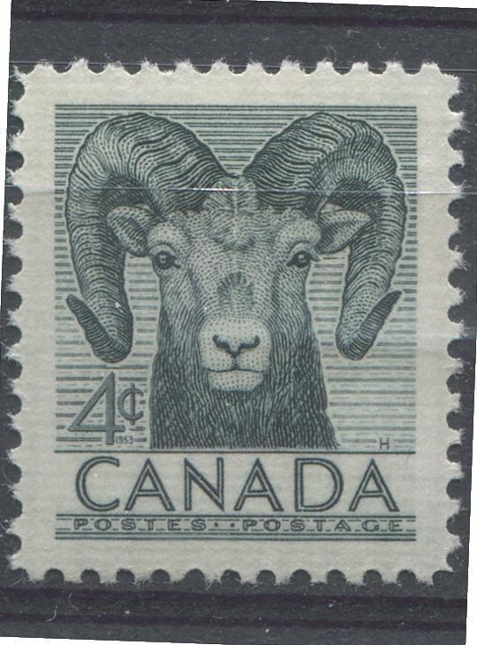 Canada #324 (SG#449) 4c Slate Bighorn Sheep 1952 Wildlife Week Issue VF 84 NH Brixton Chrome