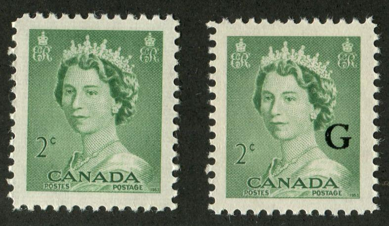 Canada #326, O34 (SG#451, O197) 2c Green Queen Elizabeth II 1953 Karsh Issue Regular and Offical Stamps VF-84 NH Brixton Chrome