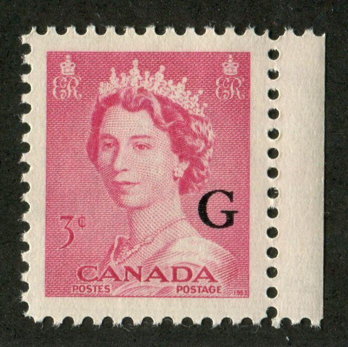 Canada #327, O35 (SG#452, O198) 3c Carmine-Rose Queen Elizabeth II 1953 Karsh Issue Regular and Official Stamps VF-84 NH Brixton Chrome