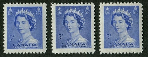Canada #329 (SG#454) 5c Ultramarine Queen Elizabeth II 1953 Karsh Issue 3 Different Shades VF-75 NH Brixton Chrome