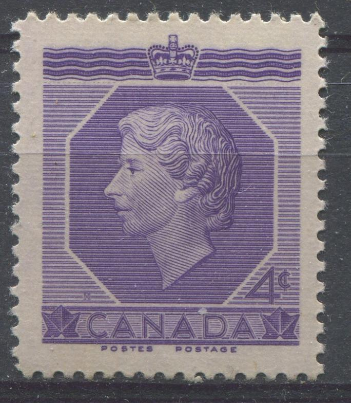 Canada #330 (SG#461) 4c Violet Queen Elizabeth II 1953 Coronation Issue VF 75/80 NH Brixton Chrome