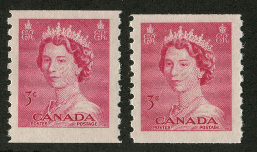 Canada #332 (SG#456) 3c Carmine Rose 1953 Karsh Issue Coil 2 Shades and Papers - F-71 NH Brixton Chrome