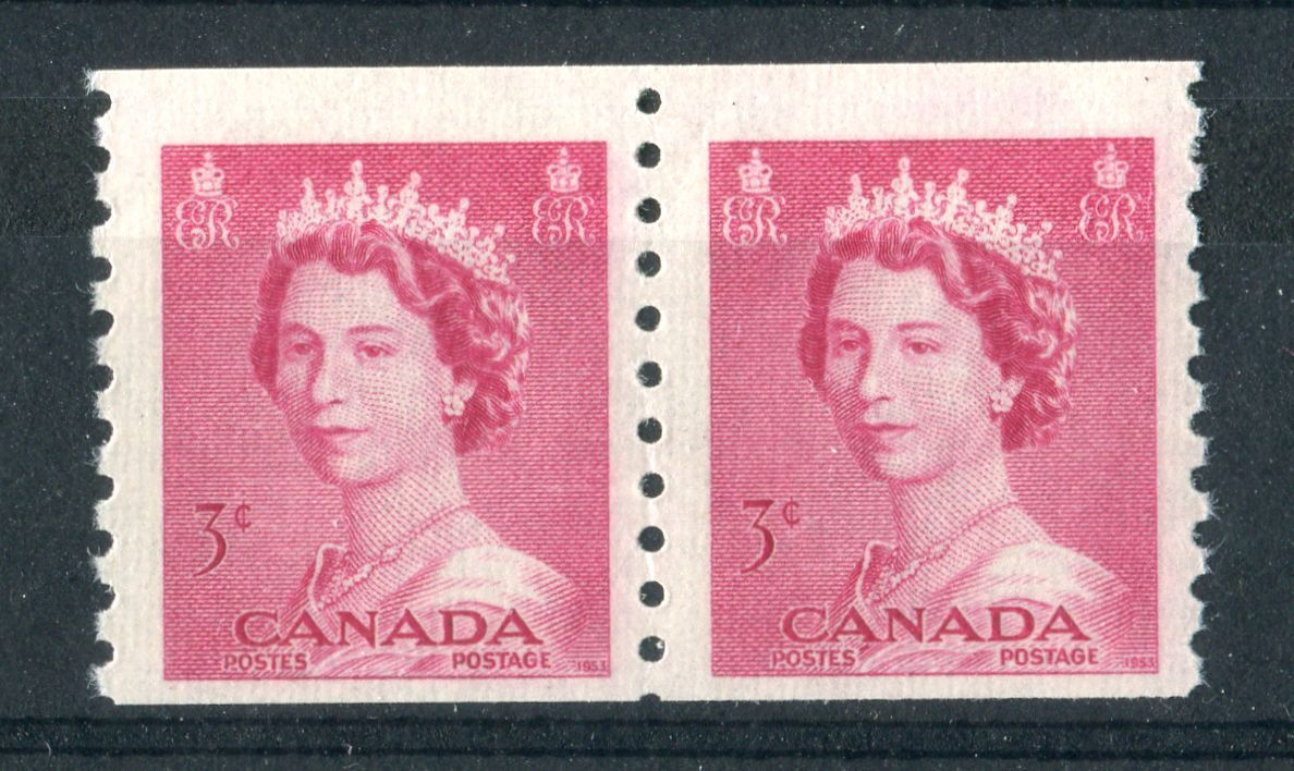Canada #332 (SG#456) 3c Carmine Rose 1953 Karsh Issue Coil Pair 4.25mm Spacing Ribbed Paper - VF-75 NH Brixton Chrome