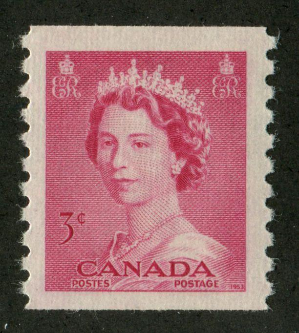 Canada #332 (SG#456) 3c Carmine Rose 1953 Karsh Issue Coil Vertical Ribbed Paper - VF-80 LH Brixton Chrome