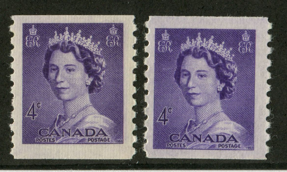 Canada #333 (SG#457) 4c Violet 1953 Karsh Issue Coil 2 Shades Ribbed Paper - VF-75 NH Brixton Chrome