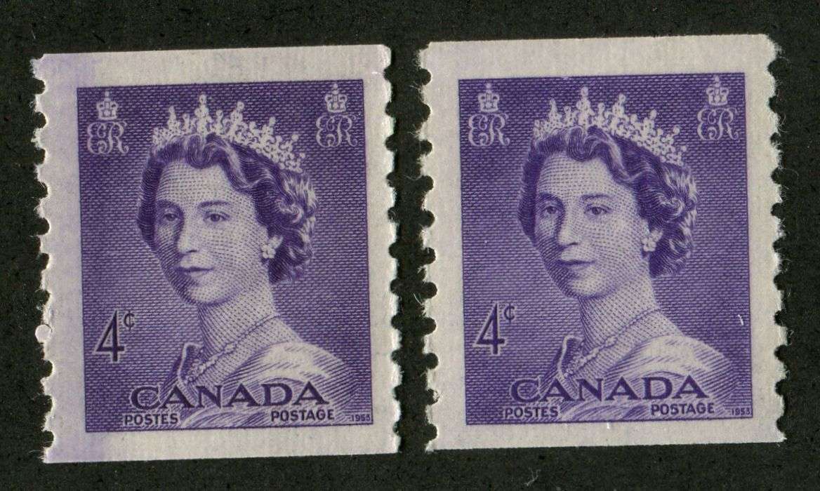 Canada #333 (SG#457) 4c Violet 1953 Karsh Issue Coil 2 Shades Vertical Wove Paper - VF-80 NH Brixton Chrome