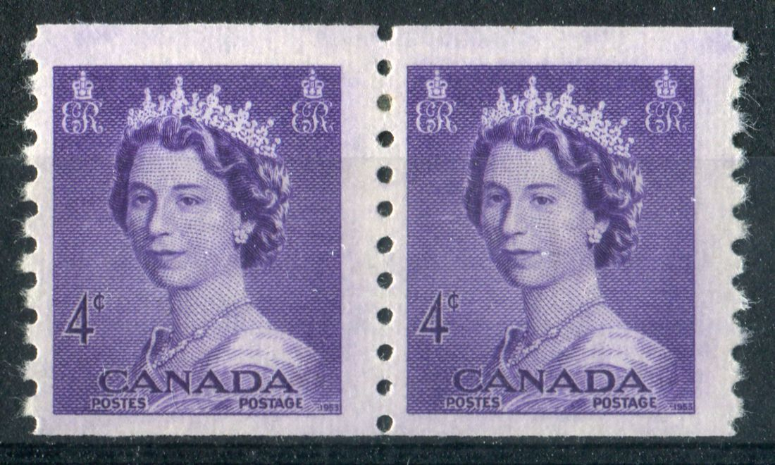 Canada #333 (SG#457) 4c Violet 1953 Karsh Issue Coil Pair 4.5mm Spacing Smooth - F-70 NH Brixton Chrome