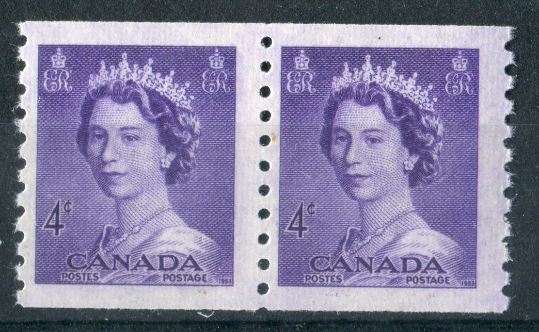 Canada #333 (SG#457) 4c Violet 1953 Karsh Issue Coil Pair 4.5mm Spacing Smooth - VF-75 NH Brixton Chrome