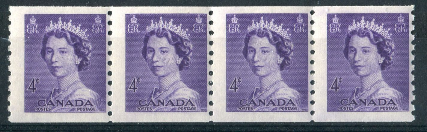 Canada #333 (SG#457) 4c Violet 1953 Karsh Issue Coil Strip 4.5, 4.5, 4.5 mm Spacings F-70 NH Brixton Chrome