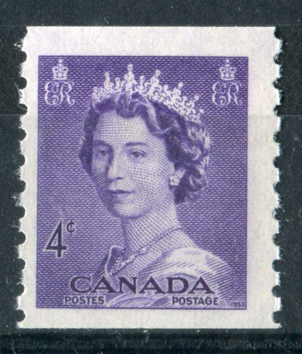 Canada #333 (SG#457) 4c Violet 1953 Karsh Issue Coil Vertical Wove Paper F-68 NH Brixton Chrome