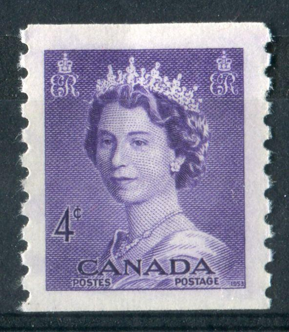 Canada #333 (SG#457) 4c Violet 1953 Karsh Issue Coil Vertical Wove Paper VF-80 NH Brixton Chrome