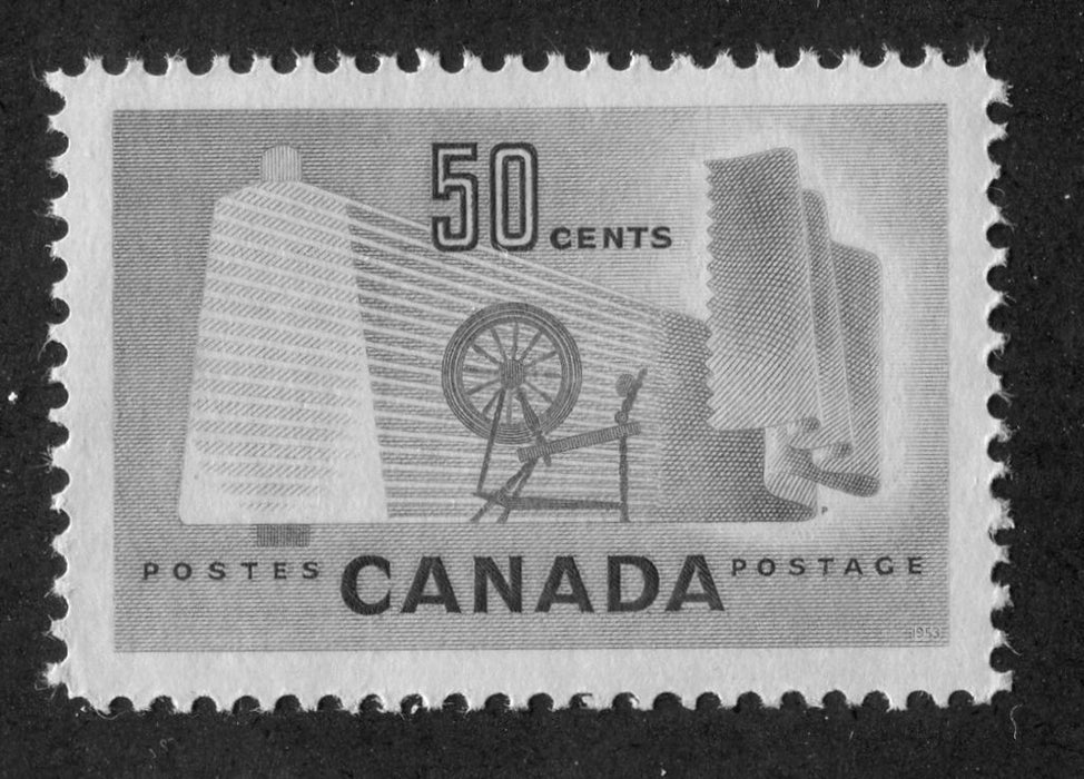 Canada #334 (SG#462) 50c Pale Green Textiles 1953 Karsh Issue DF Paper Type B VF-84 NH Brixton Chrome