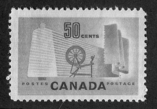 Canada #334 (SG#462) 50c Pale Green Textiles 1953 Karsh Issue DF Paper Type J F-73 NH Brixton Chrome