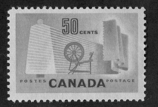 Canada #334 (SG#462) 50c Pale Green Textiles 1953 Karsh Issue DF Paper Type J VF-75 NH Brixton Chrome