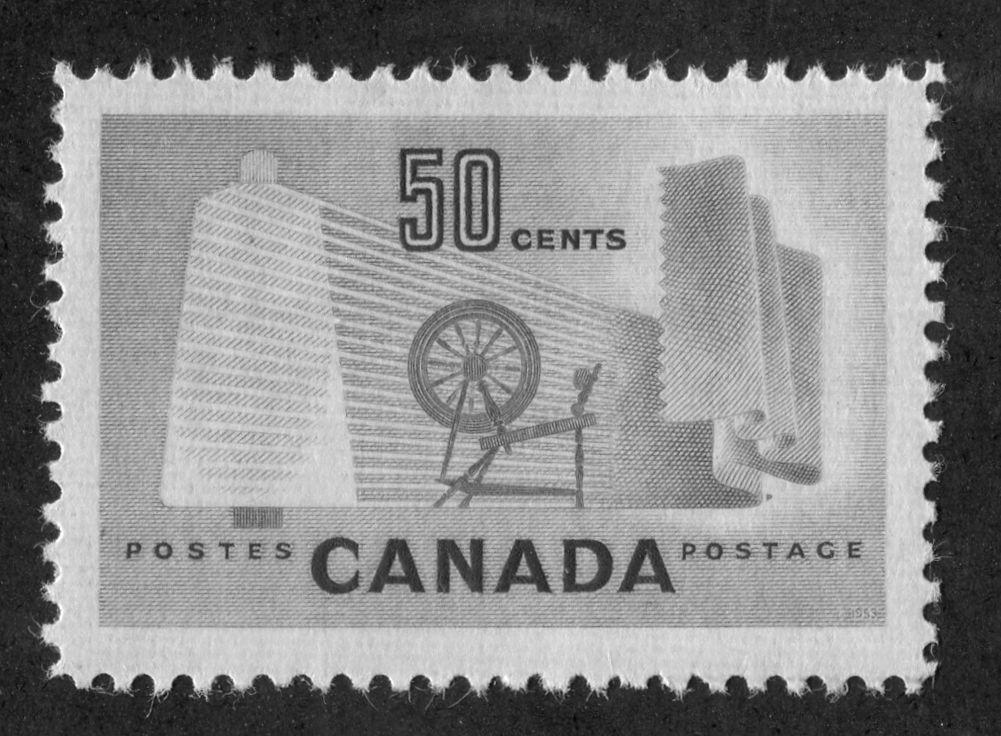 Canada #334 (SG#462) 50c Pale Green Textiles 1953 Karsh Issue DF Paper Type J VF-80 NH Brixton Chrome