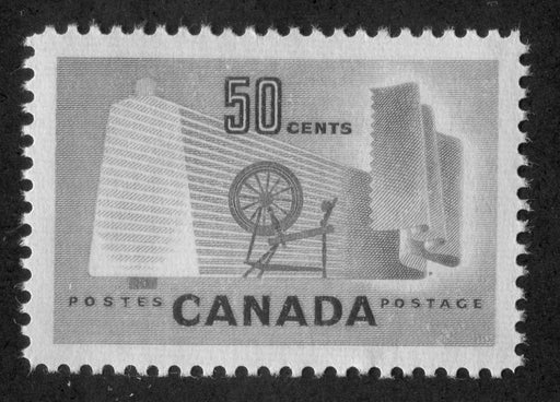 Canada #334 (SG#462) 50c Pale Green Textiles 1953 Karsh Issue DF Paper Type J VF-84 NH Brixton Chrome