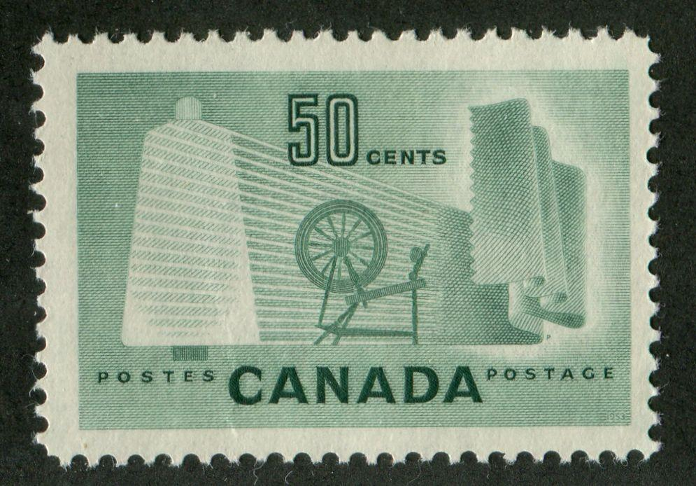 Canada #334 (SG#462) 50c Pale Green Textiles 1953 Karsh Issue DF Paper Type K VF-75 NH Brixton Chrome