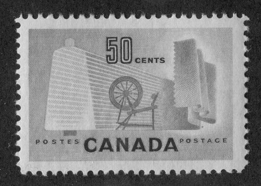 Canada #334 (SG#462) 50c Pale Green Textiles 1953 Karsh Issue DF Paper Type K VF-80 NH Brixton Chrome