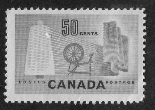 Canada #334ii (SG#462var) 50c Pale Green Textiles 1953 Karsh Issue High Fluorescent Paper - VG-55 NH Brixton Chrome