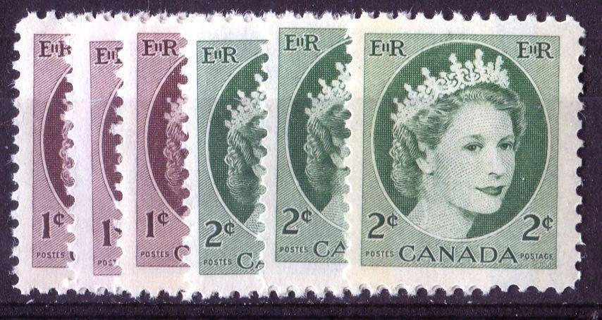 Canada #337-338p (SG#463, 464p) 1c-2c 1954 Wilding - 6 Different Papers and Shades F-70 NH Brixton Chrome