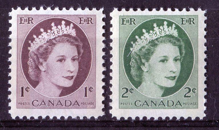 Canada #337p-338p (SG#463p464p) 1c-2c 1954 Wilding Issue W2B Tagging and 2 Different Paper Types VF-75 NH Brixton Chrome