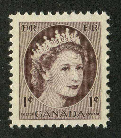 Canada #337p (SG#463p) 1c Brown 1954 Wilding Issue W2B DF Paper VF-80 NH Brixton Chrome