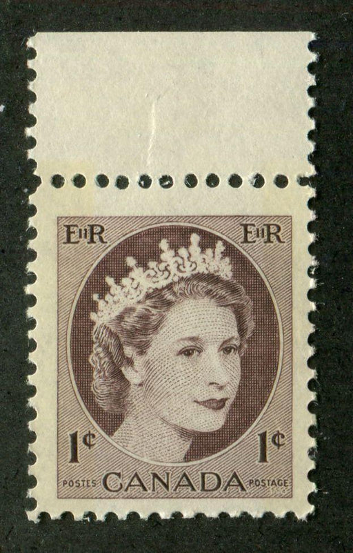 Canada #337p (SG#463p) 1c Chocolate Brown 1954 Wilding Issue - W2B on DF Paper F-70 NH Brixton Chrome
