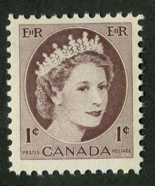 Canada #337p (SG#463p) 1c Light Violet Brown 1954 Wilding Issue - W2B on NF Paper VF-75 NH Brixton Chrome