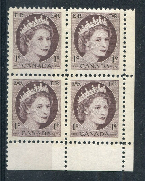 Canada #337p (SG#463p) 1c Violet Brown 1954 Wilding Issue W2B LR Corner Block NF Paper VF-75 NH Brixton Chrome