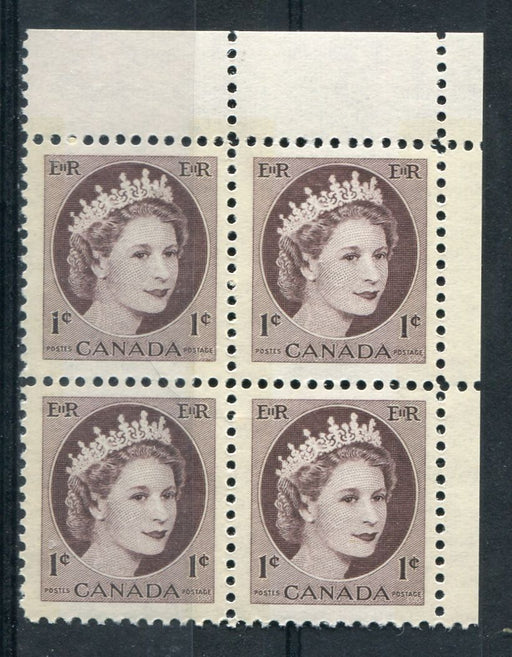 Canada #337p (SG#463p) 1c Violet Brown 1954 Wilding Issue W2B UR Corner Block NF Paper VF-75 NH Brixton Chrome
