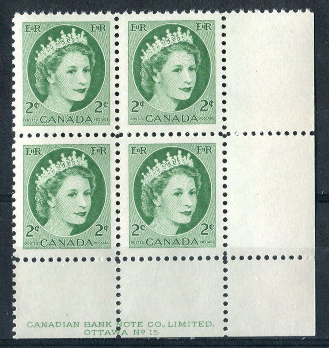 Canada #338iv (SG#464) 2c Green 1954 Wilding Issue Plate 15 LR DF Light Violet Smooth Paper VF-75 NH Brixton Chrome