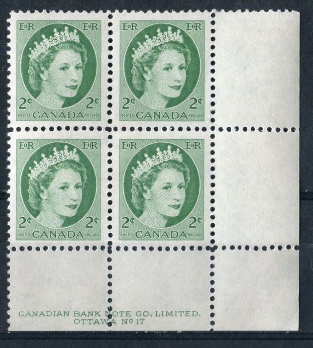 Canada #338iv (SG#464) 2c Green 1954 Wilding Issue Plate 17 LR DF GW Ribbed Paper VF-80 NH Brixton Chrome