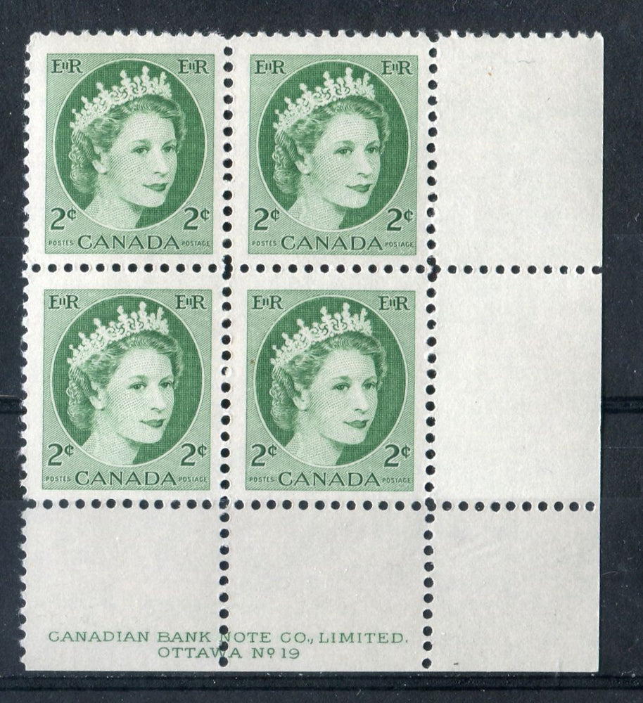 Canada #338iv (SG#464) 2c Green 1954 Wilding Issue Plate 19 LR DF Greyish Smooth Paper F-70 NH Brixton Chrome